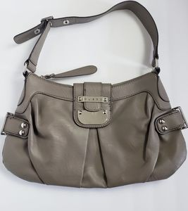 💜Guess Pleated Taupe Hobo Buckle Shoulder Bag